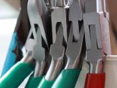 Detail of pliers in workshop